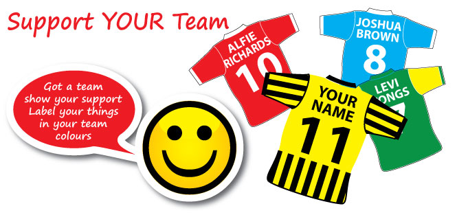 support your team labels banner